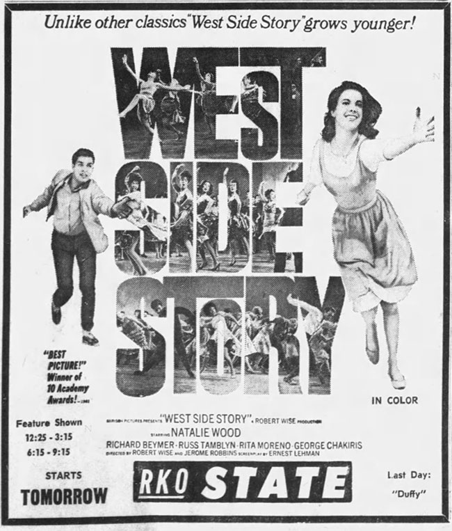 Newspaper ad for West Side Story