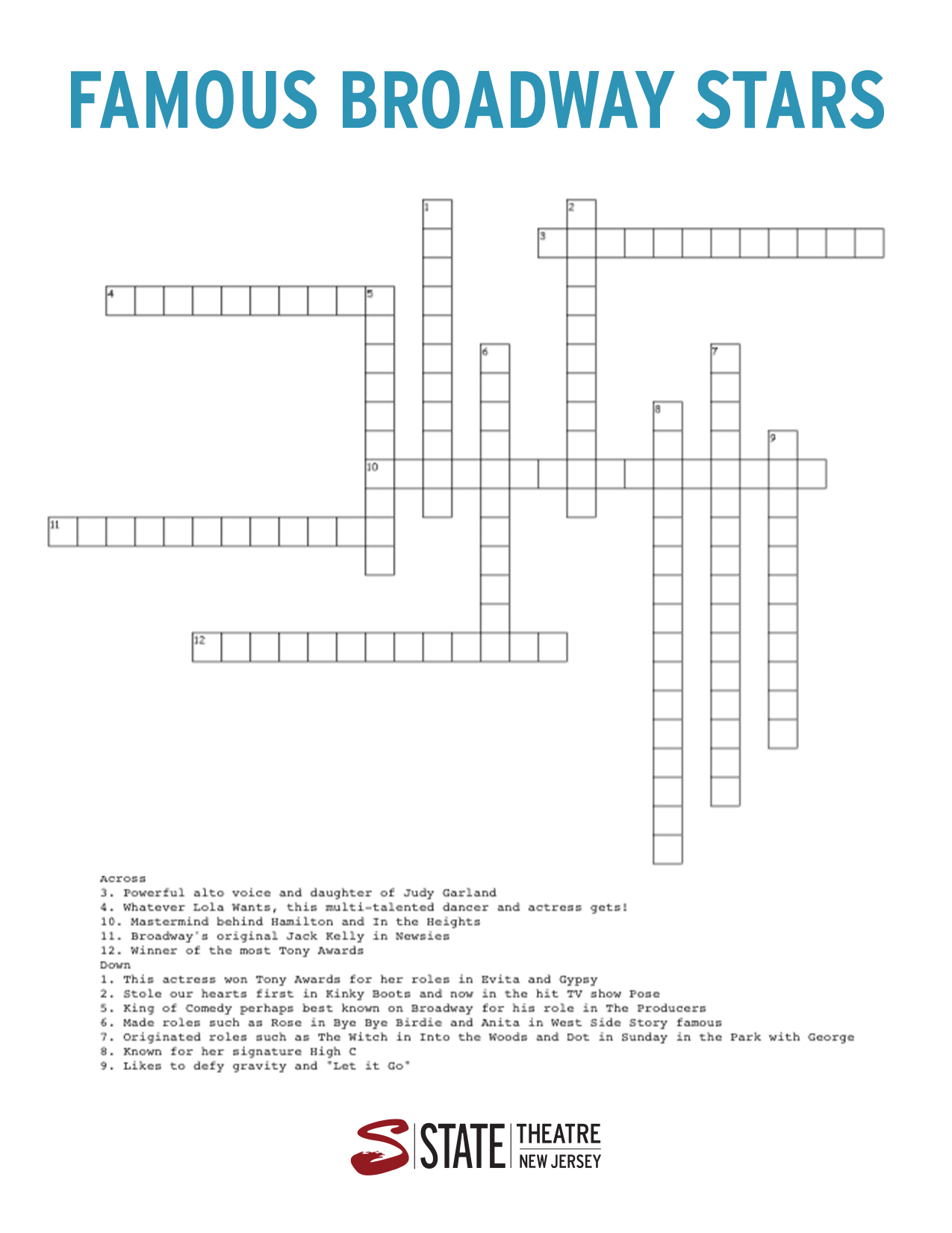 Broadway Stars Crossword