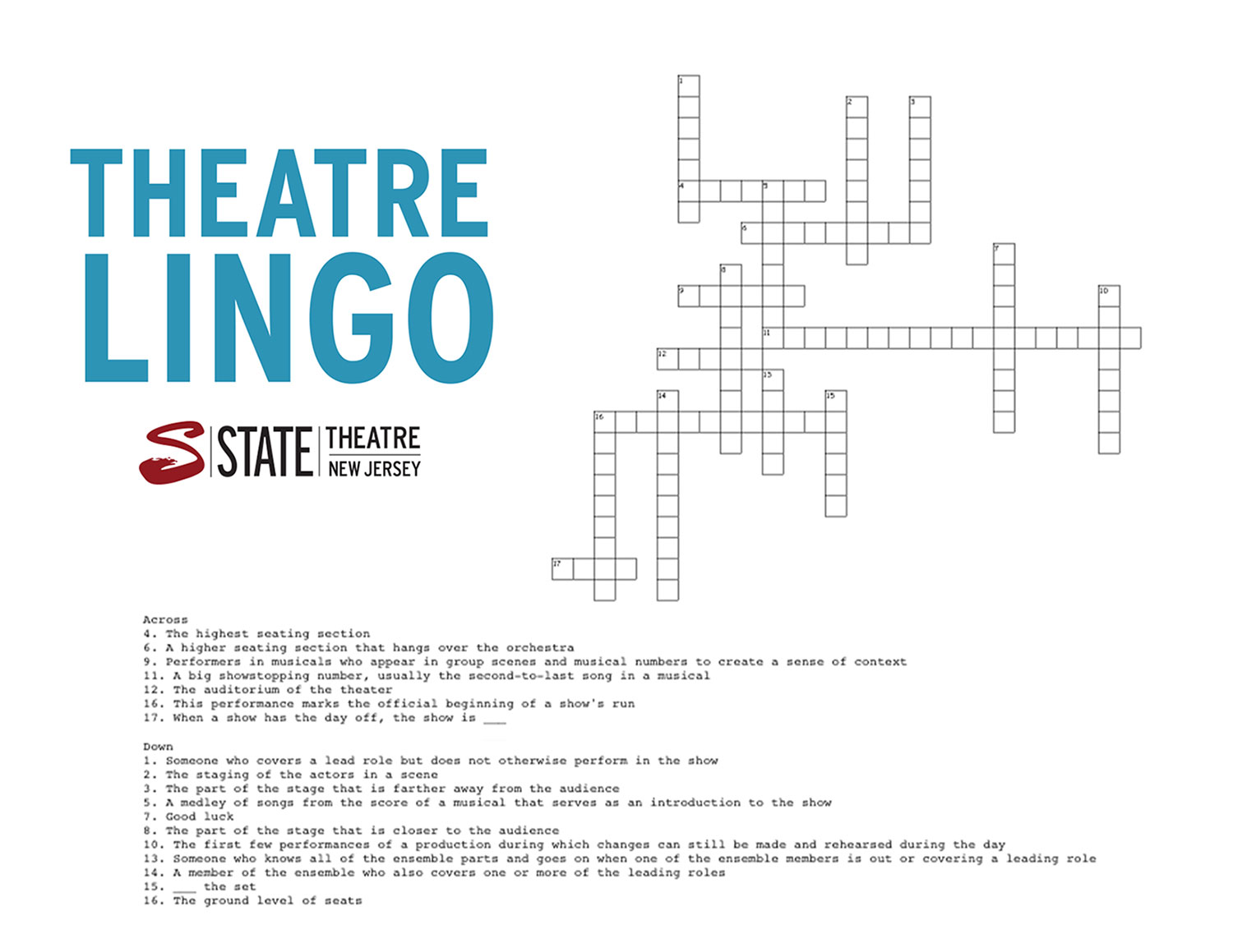 Theatre Lingo Crossword