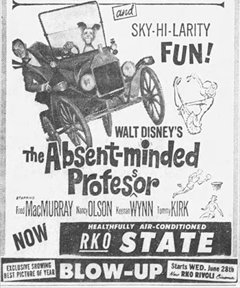 Old Advertisement for the Absent-Minded Professor at the RKO State